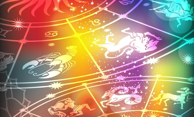Colorful Astrology Wheel showing signs of the horoscope