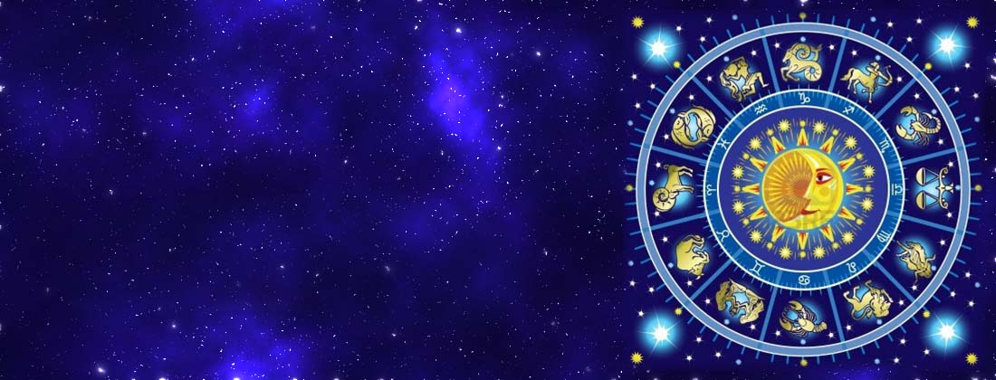 The horoscope wheel on a blue starry background showing that Psychic Elaine Palmer provides expert horoscope readings.