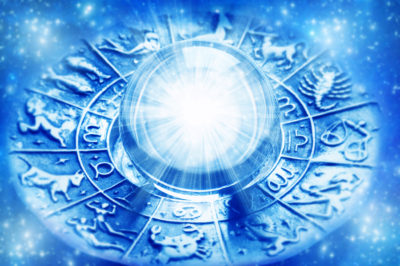 Astrology signs on wheel with crystal ball in the center. Composed with a blue filter.