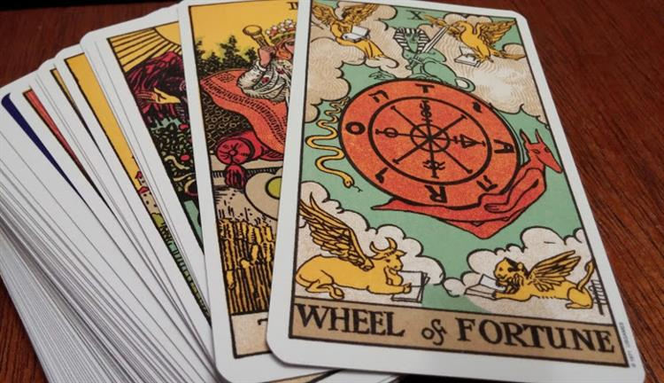 Tarot reading cards in a stack